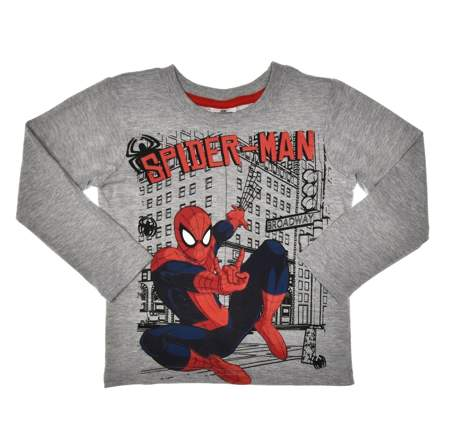 Bluzka z długim rękawem dla dzieci Spider-Man szara